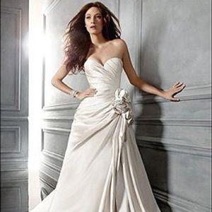 Casablanca ivory silk wedding gown